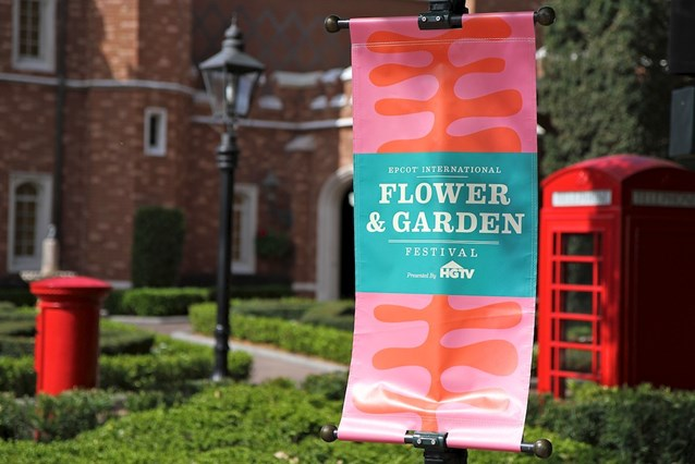 Epcot International Flower and Garden Festival - Flower and Garden signage infront of the UK Pavilion