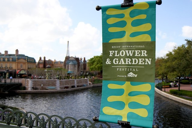 Epcot International Flower and Garden Festival - Flower and Garden signage infront of the France Pavilion