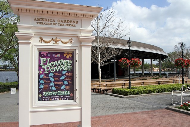 Epcot International Flower and Garden Festival - The Flower Power concert stage setup at the American Adventure