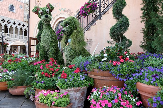 International Flower and Garden Festival - Lady and the Tramp topiary at Italy