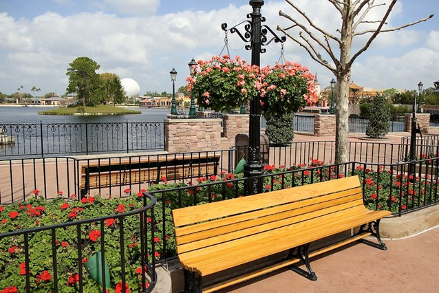 Epcot International Flower and Garden Festival - Hanging baskets line the promenade at World Showcase