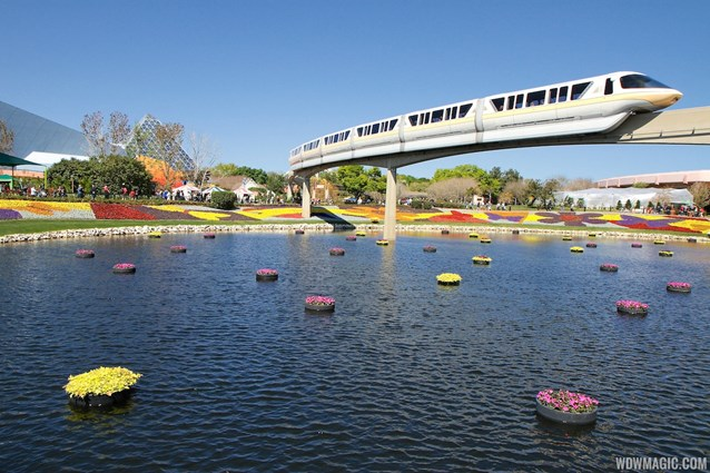 Epcot International Flower and Garden Festival - 2013 Epcot Flower and Garden Festival - Floating gardens and monorail gold
