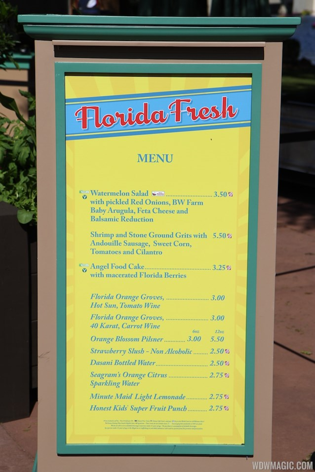 International Flower and Garden Festival - 2013 Epcot Flower and Garden Festival - Garden Marketplace - Florida Fresh menu