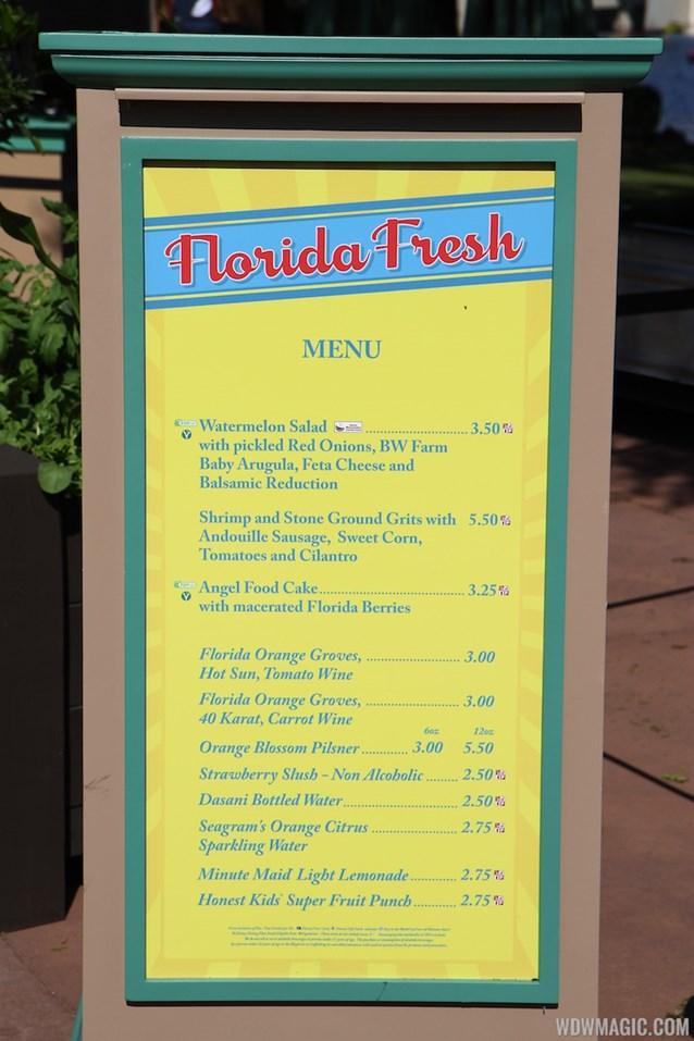 Epcot International Flower and Garden Festival - 2013 Epcot Flower and Garden Festival - Garden Marketplace - Florida Fresh menu