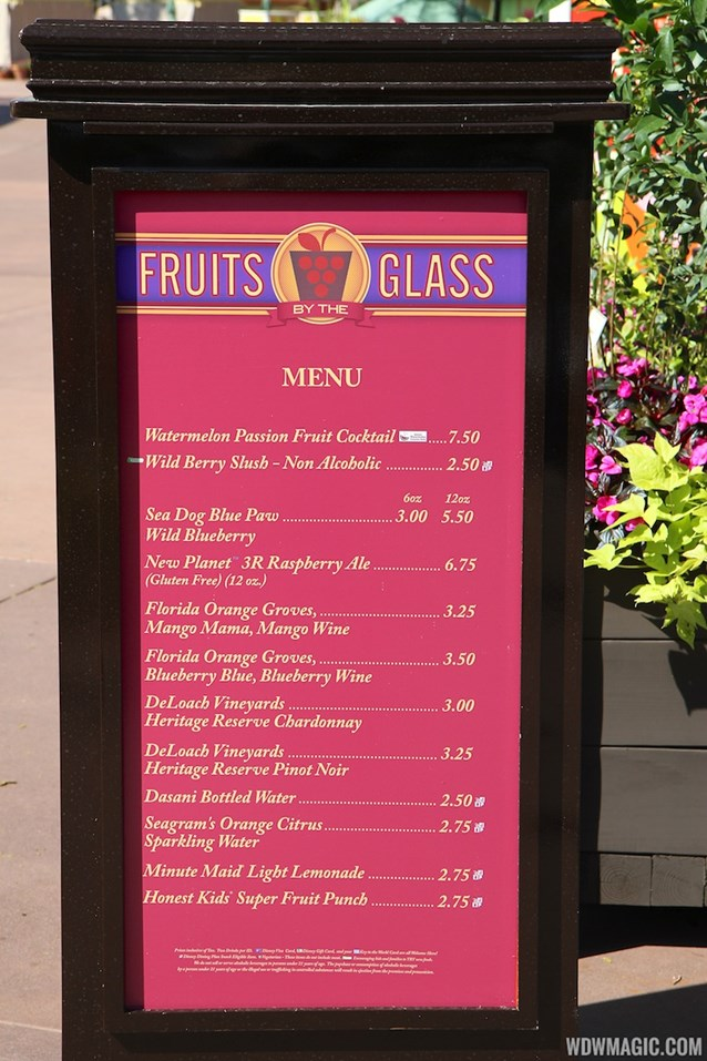 Epcot International Flower and Garden Festival - 2013 Epcot Flower and Garden Festival - Garden Marketplace - Fruits by the Glass menu