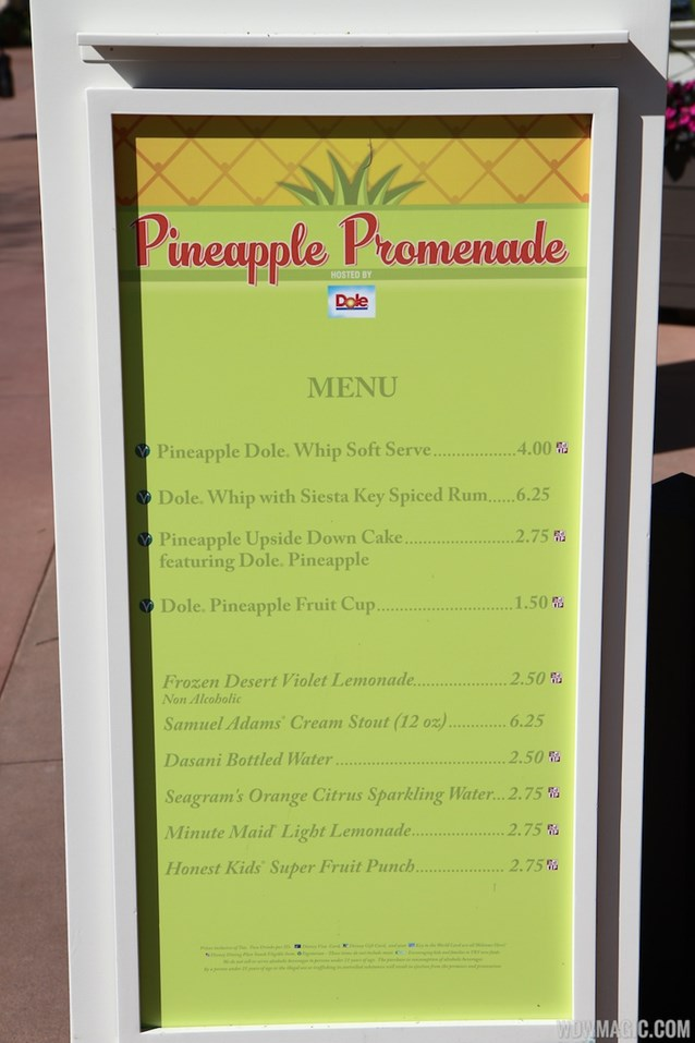 Epcot International Flower and Garden Festival - 2013 Epcot Flower and Garden Festival - Garden Marketplace - Pineapple Promenade menu
