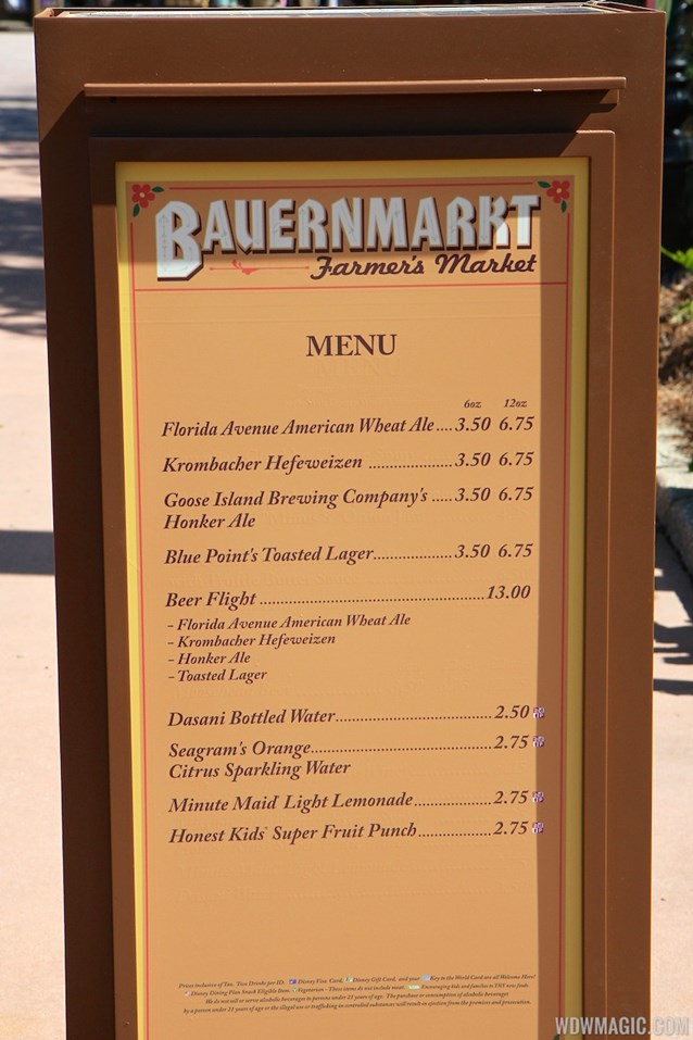 International Flower and Garden Festival - 2013 Epcot Flower and Garden Festival - Garden Marketplace - Bauernmarket menu