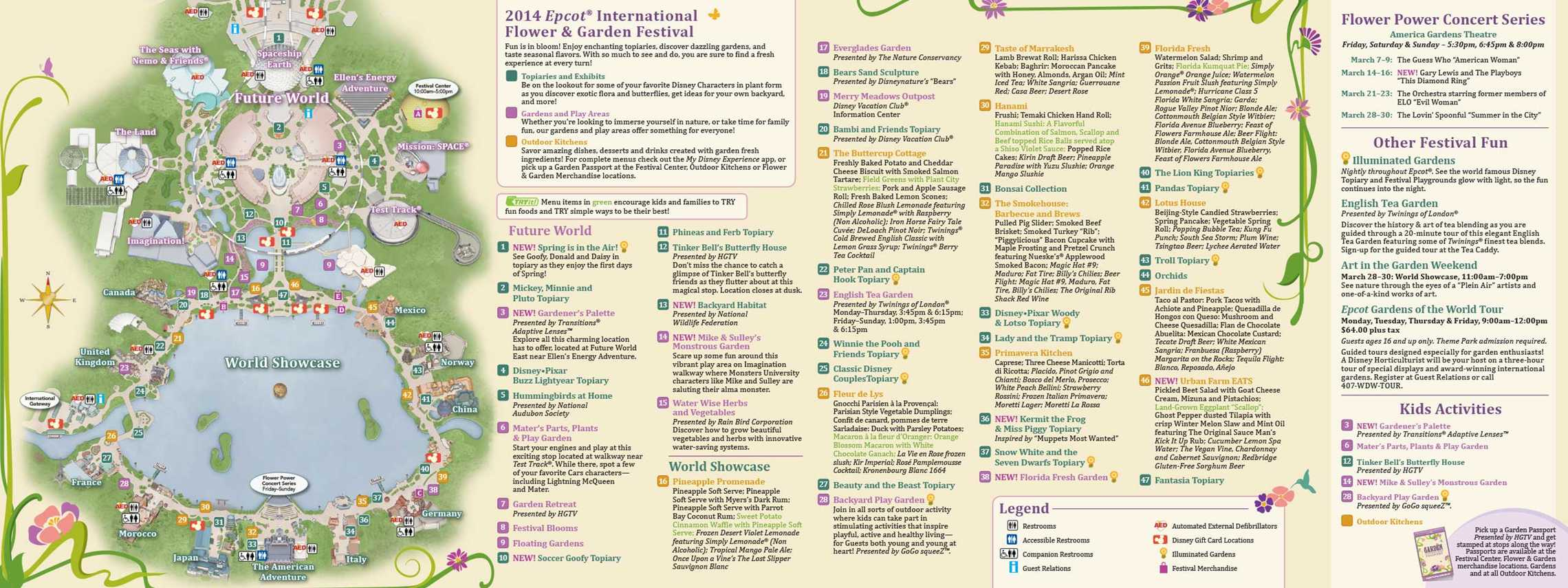 2014 Epcot Flower And Garden Festival Guide Map Photo 1 Of 2