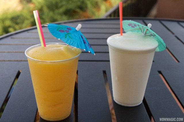 2014 Epcot Flower and Garden Festival Outdoor Kitchen kiosk - Hanami Japan - Pineapple Paradise with Yuzu Slushie and Orange Mango Slushi $8.50 each