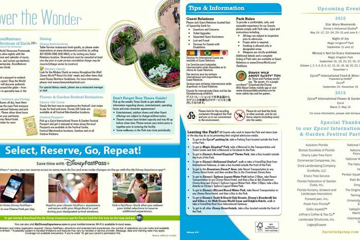 2015 Epcot Flower and Garden Festival guide map