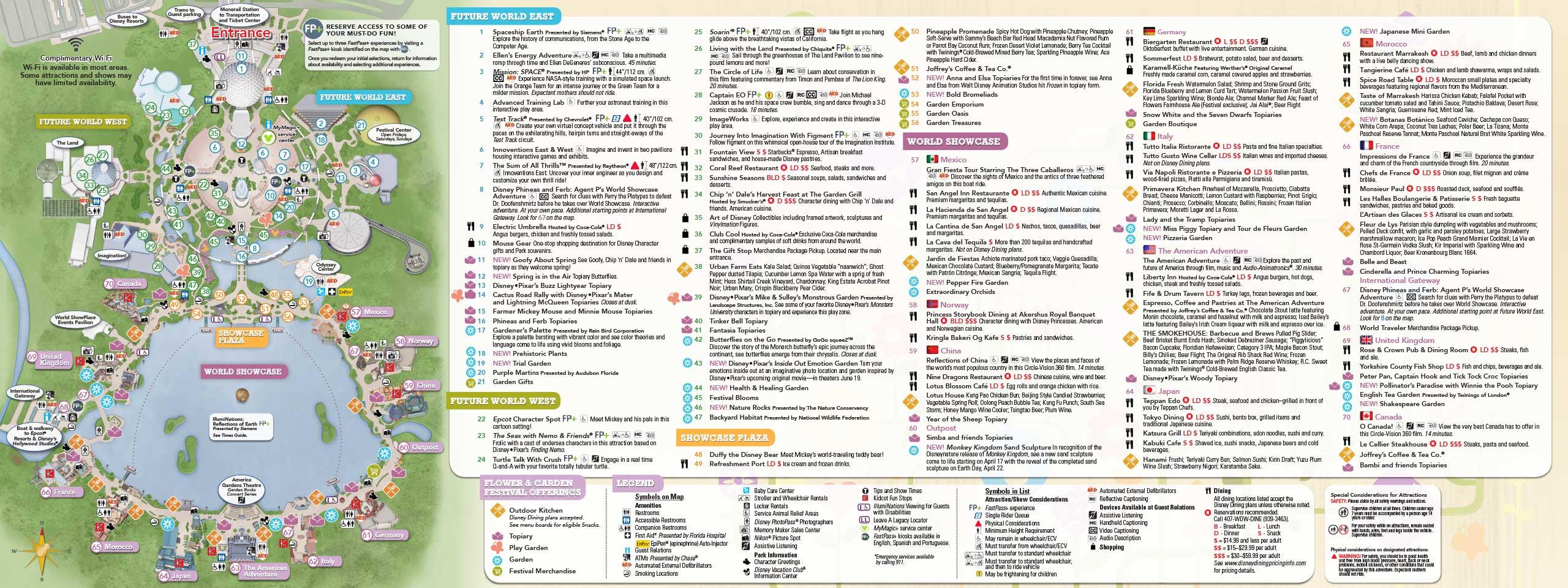 ... Festival - 2015 Epcot Flower and Garden Festival guide map - Back