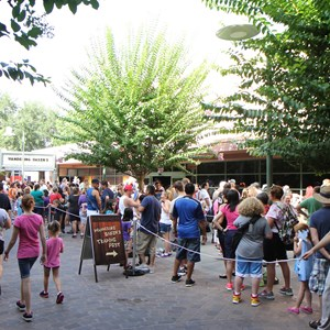 4 of 15: 'Frozen' Summer Fun - Live at Disney's Hollywood Studios - Frozen Summer Fun - Line outside Wandering Oaken's Trading Post and Frozen Funland