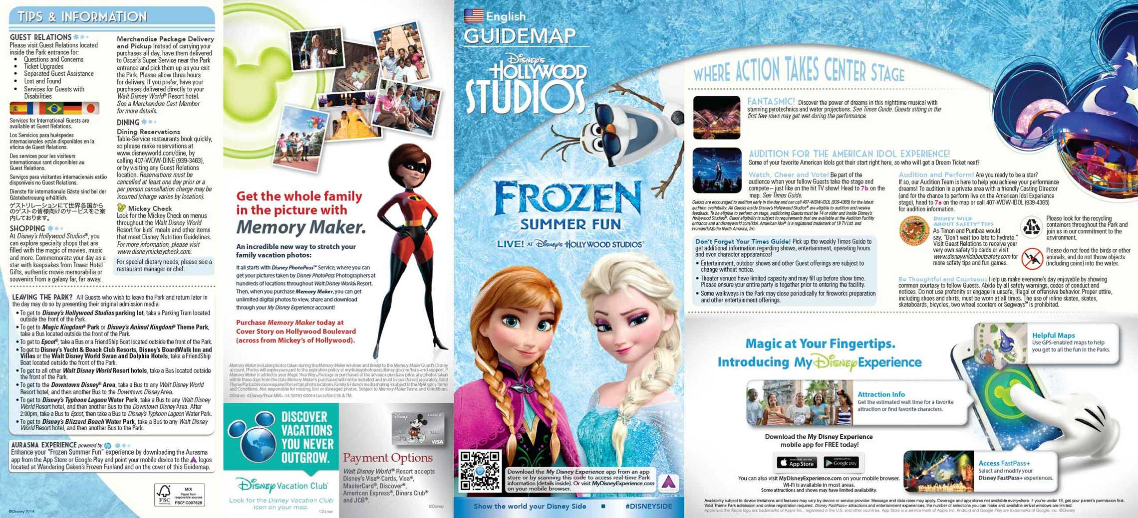 Frozen Summer Fun - LIVE at Disney's Hollywood Studios guide map front