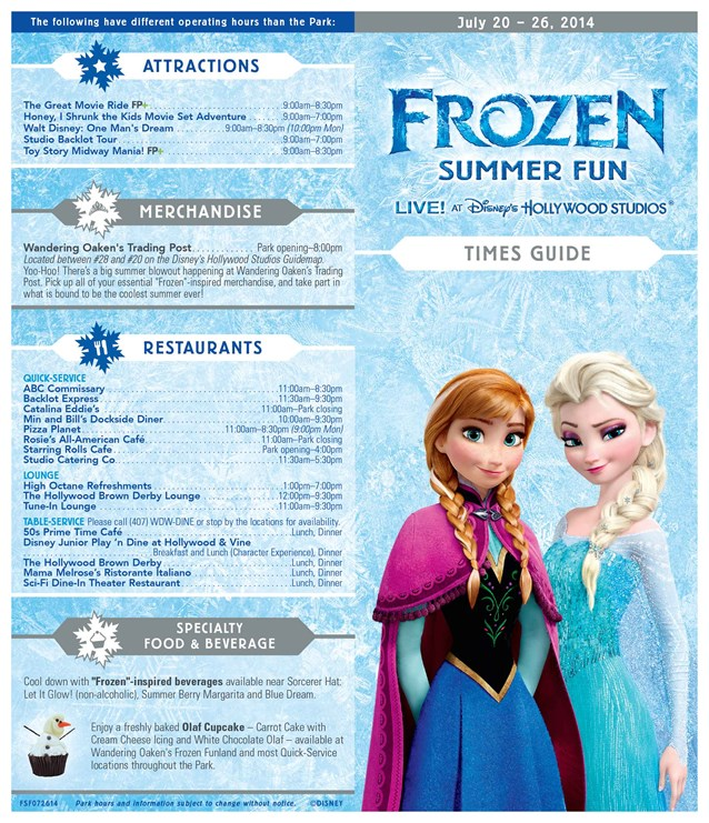 'Frozen' Summer Fun - Live at Disney's Hollywood Studios - Frozen Summer Fun - LIVE at Disney's Hollywood Studios time guide front