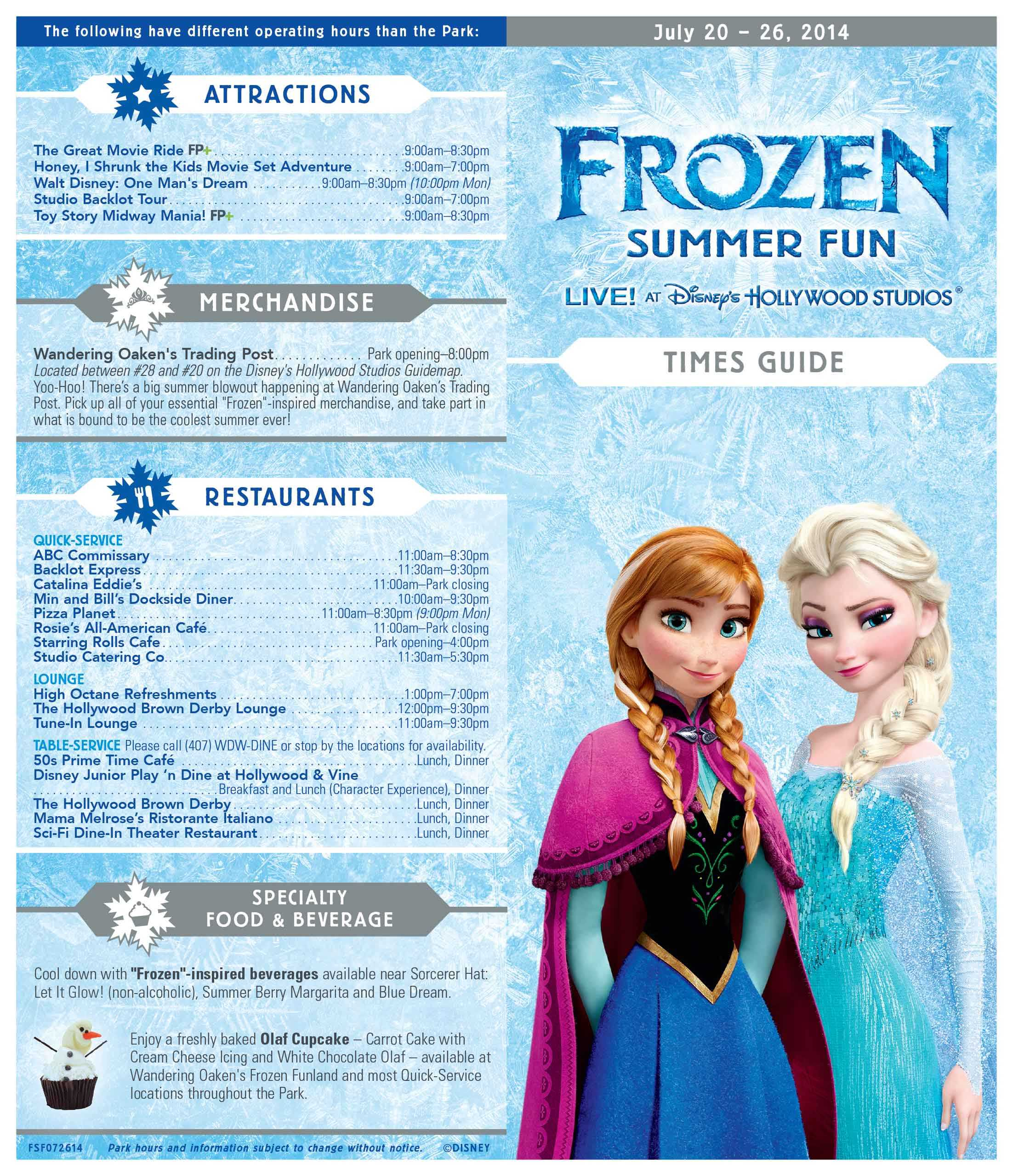 Frozen Summer Fun - LIVE at Disney's Hollywood Studios time guide front