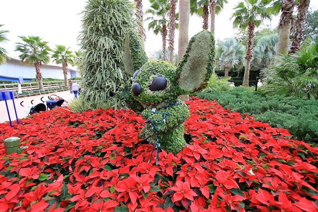 Holidays Around the World at Epcot - Stitch topiary near to the Spaceship Earth restrooms