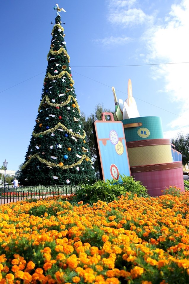 Holidays Around the World at Epcot - The Christmas Tree and some of the Food and Wine decor