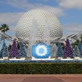 Holidays Around the World at Epcot - Epcot Main entrance decorations for 2012 - Fountain stage setup for JoyFull