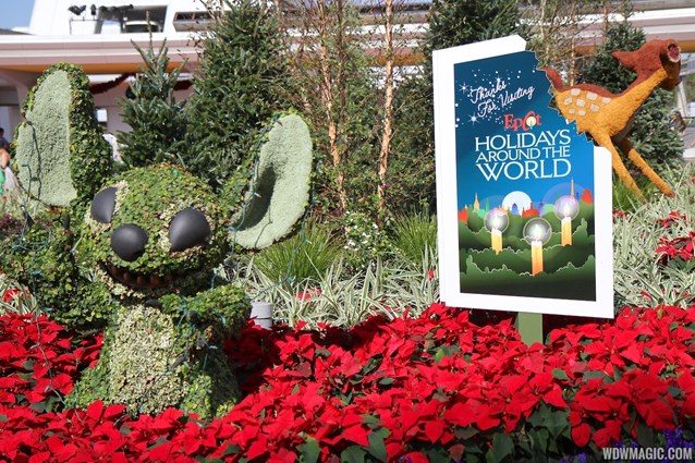 Holidays Around the World at Epcot - Epcot Main entrance decorations for 2012 - Stitch Topiary