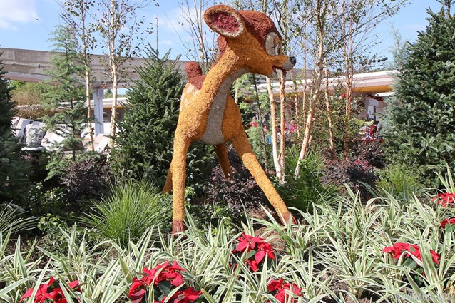 Holidays Around the World at Epcot - Epcot Main entrance decorations for 2012 - Bambi Topiary