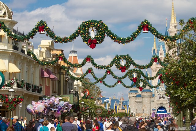 Christmas Holidays decorations at the Magic Kingdom