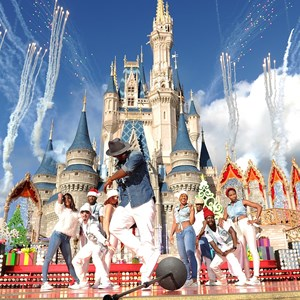 4 of 6: Holidays at the Magic Kingdom - Ne-Yo performs at the Disney Parks Christmas Day Parade TV Special 2013 taping