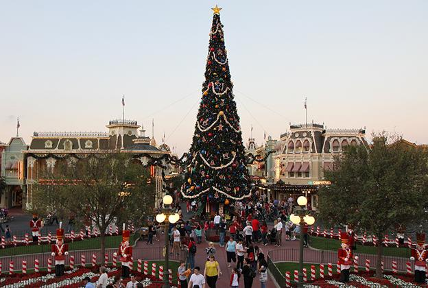Holidays decorations and christmas tree at the Magic Kingdom 2009