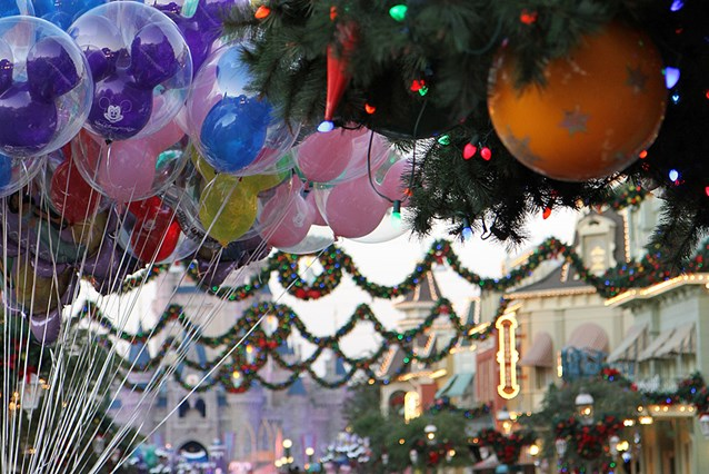 Holidays at the Magic Kingdom - Christmas tree decorations and Main Street USA