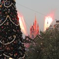 Holidays at the Magic Kingdom - Dream Along with Mickey pyro bursts from the castle viewed from the train station balcony