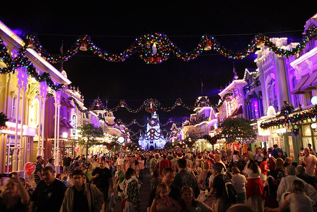 Holidays at the Magic Kingdom - View along Main Street USA at 7pm
