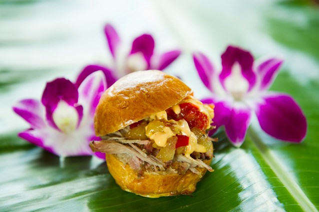 International Food and Wine Festival - The Kalua Pork Slider (not the liqueur Kahlua but the Kalua barbecue method of cooking) debuts at the new Hawaii tasting marketplace