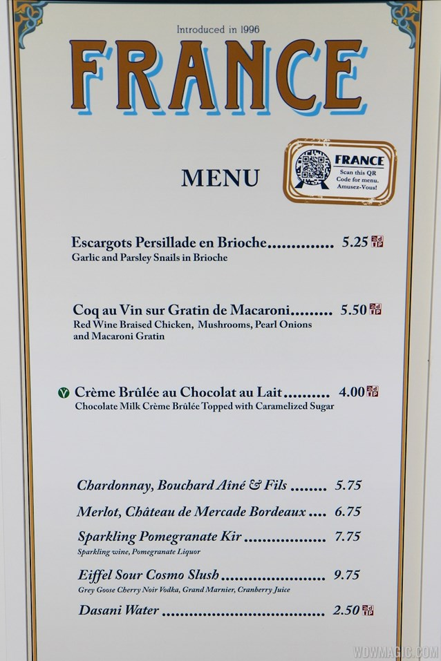 Epcot International Food and Wine Festival - 2012 Food and Wine Festival - France kiosk menu and prices