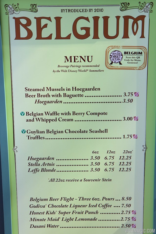 Epcot International Food and Wine Festival - 2012 Food and Wine Festival - Belgium menu and prices