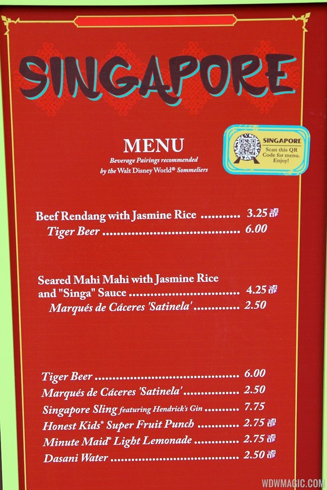 Epcot International Food and Wine Festival - 2012 Food and Wine Festival - Singapore kiosk menu and prices