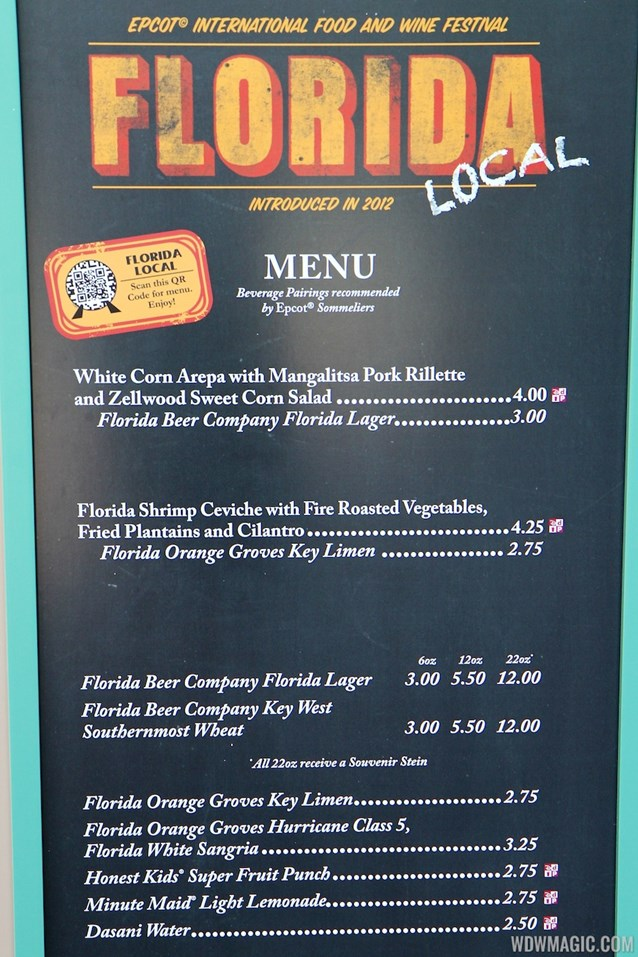 International Food and Wine Festival - 2012 Food and Wine Festival - Florida Local kiosk menu and prices
