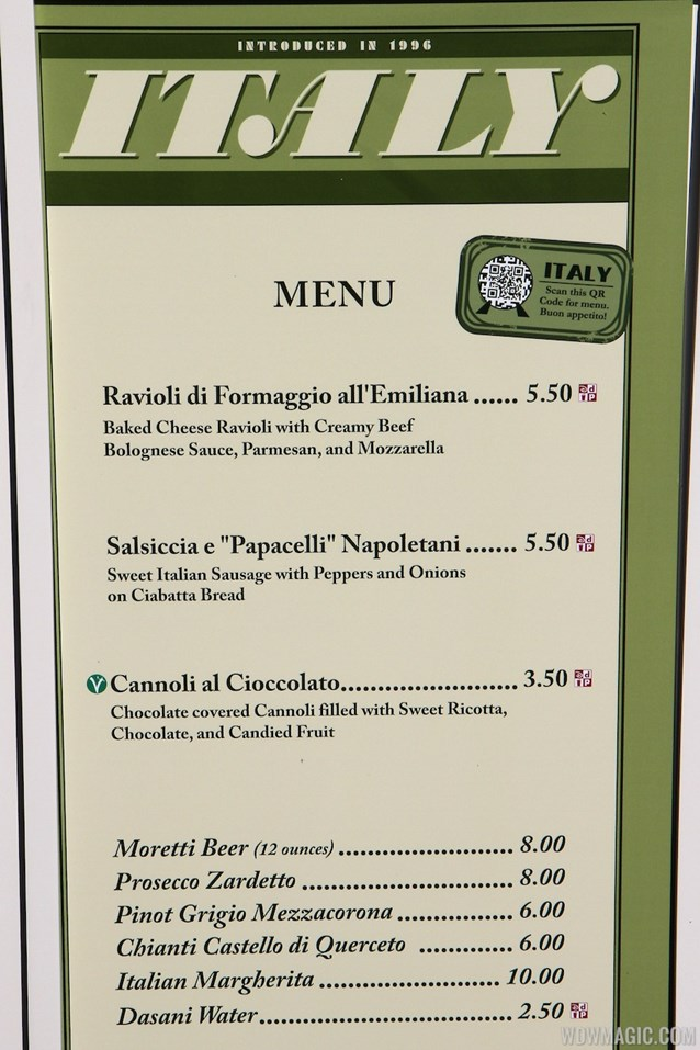 International Food and Wine Festival - 2012 Food and Wine Festival - Italy kiosk menu and prices