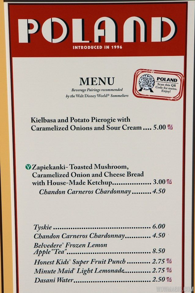Epcot International Food and Wine Festival - 2012 Food and Wine Festival - Poland kiosk menu and prices