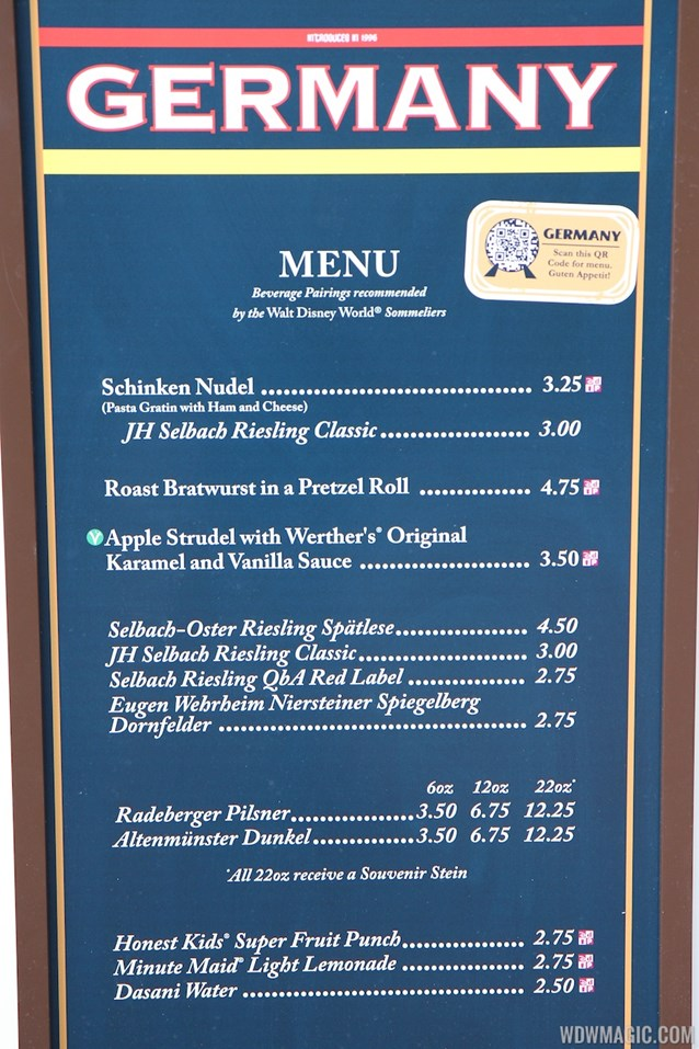 Epcot International Food and Wine Festival - 2012 Food and Wine Festival - Germany kiosk menu and prices