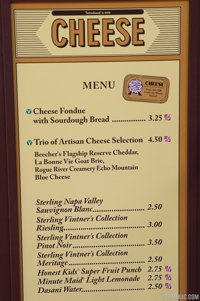 Epcot International Food and Wine Festival - 2012 Food and Wine Festival - Cheese kiosk menu and prices