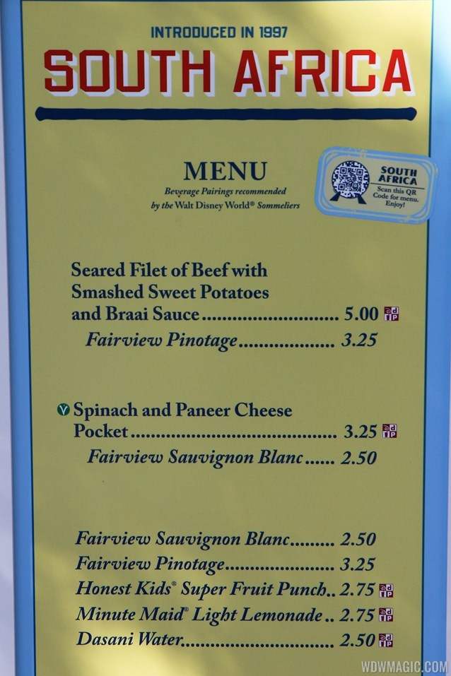 Epcot International Food and Wine Festival - 2012 Food and Wine Festival - South Africa kiosk menu and prices