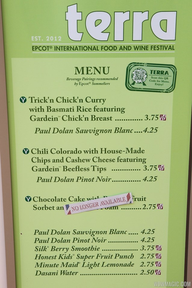 Epcot International Food and Wine Festival - 2012 Food and Wine Festival - TERRA kiosk menu and prices