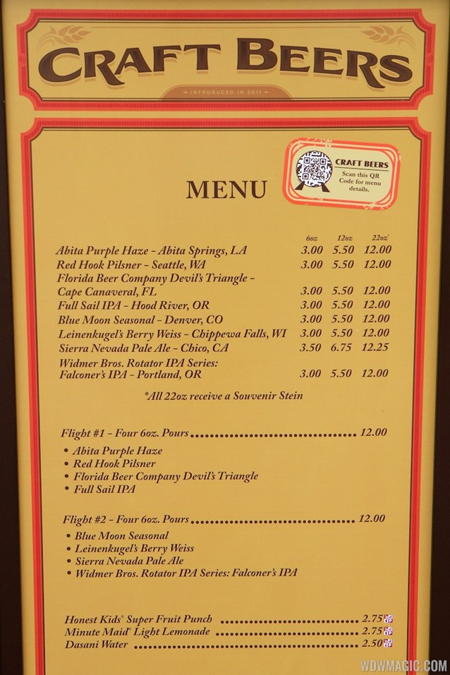Epcot International Food and Wine Festival - 2012 Food and Wine Festival - Craft Beers kiosk menu and prices
