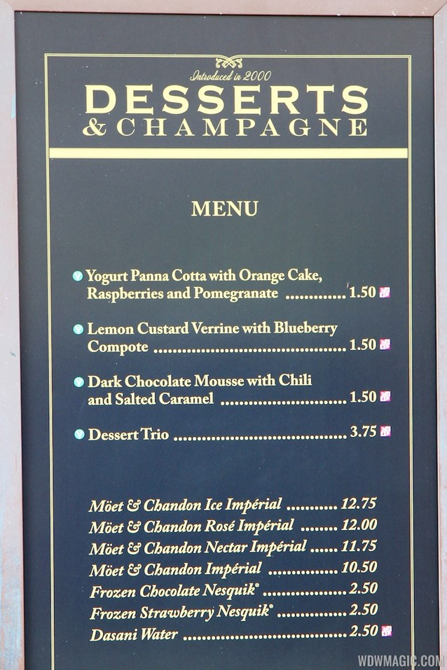 Epcot International Food and Wine Festival - 2012 Food and Wine Festival - Desserts and Champagne menu and prices