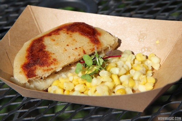 Epcot International Food and Wine Festival - Florida Local - White Corn Arepa with Mangalitsa Pork Rilette and Zellwood Sweet Corn Salad