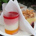 International Food and Wine Festival - Desserts and Champagne - Yogurt Panna Cotta with Orange Cake, Raspberries and Pomegranate