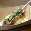 International Food and Wine Festival - Argentina- Grilled Beef Skewer with Chimichurri Sauce and Boniato Purée