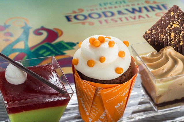 Epcot International Food and Wine Festival - Desserts & Champagne Marketplace 2013 - The trio of tastes debuting this year includes (l-r) Cherry Pistachio Mousse, Orange Cupcake and Hazelnut Cheesecake