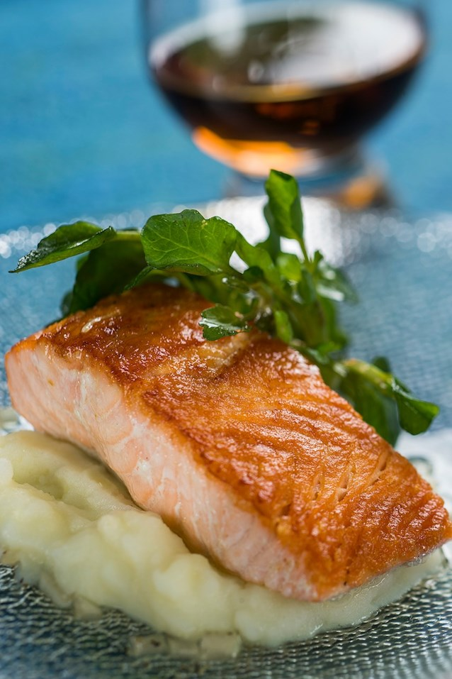 International Food and Wine Festival - Scotland 2013 - Seared Scottish Salmon with Cauliflower Puree, Watercress and Malt Vinaigrette