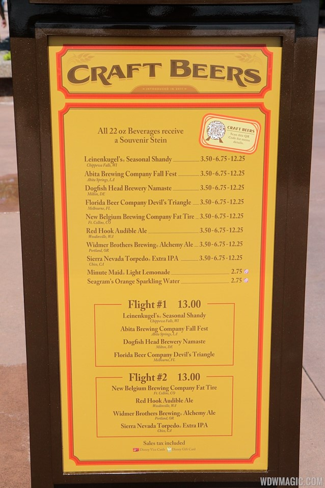International Food and Wine Festival - 2013 Epcot International Food and Wine Festival marketplace - Craft beer menu