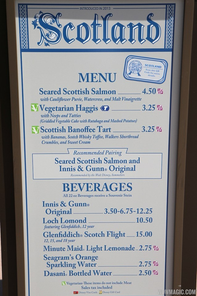 Epcot International Food and Wine Festival - 2013 Epcot International Food and Wine Festival marketplace - Scotland menu